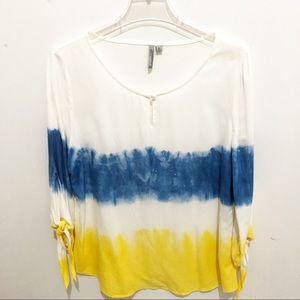 New Directions Tie-Dye Color Blocked Top